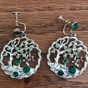 Gorgeous vintage tree with dangling bird earrings